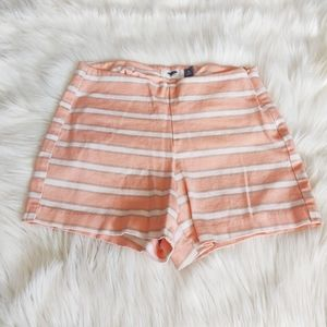 Old Navy High Rise Coral Pink Striped Shorts